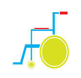 Färgrik medicinsk rullstolsymbolsvektor i vit bakgrund Arkivbilder