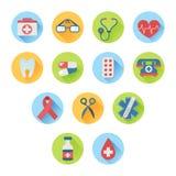 Färgrik medicinsk stil för symbolsuppsättninglägenhet Royaltyfri Foto