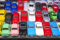 Färgrik mini- bilmodellsamling royaltyfria foton