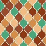 Färgrik modell för arabisk traditionell quatrefoil för brunt och för gräsplan sömlös, vektor Royaltyfria Bilder