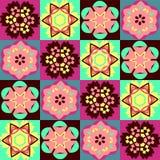 Färgrik modell för geometriskt blommaabstrakt begrepp Royaltyfri Bild