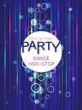 Färgrik modell för mallreklambladaffisch på en mörk bakgrund Affisch för dansparti Idérik abstrakt vektorbakgrund Arkivbild