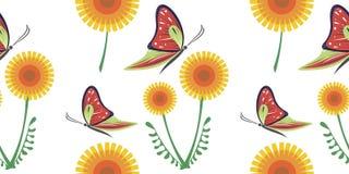 Färgrik modell för sömlös vektor med gula maskrosor och röda fjärilar på den vita bakgrunden vektor illustrationer