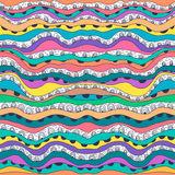 Färgrik modell med abstrakta vågor Sömlös abstrakt klotterbakgrund för vektor Royaltyfria Foton