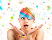 Färgrik modemakeup för regnbåge Arkivbild