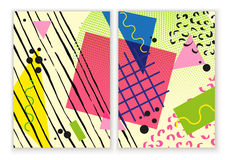 Färgrik moderiktig Neo Memphis geometrisk affisch Modern abstrakt designaffisch, räkning, kortdesign Arkivfoton