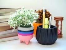 Färgrik modern konkret planter med blomman, timglas och böcker arkivbilder