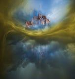 Färgrik molnvariation med Mont Saint Michel Fotografering för Bildbyråer