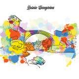 Färgrik Mostar broBosnien-Hezegovina stock illustrationer