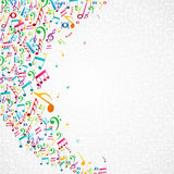 Färgrik musik noterar bakgrund Royaltyfri Fotografi