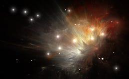 Färgrik nebula som skapas av en supernovaexplosion Arkivfoto
