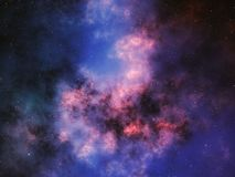 Färgrik nebulosa i djupt utrymme med stjärnor Royaltyfria Bilder