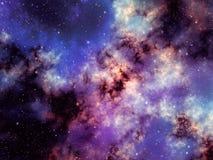 Färgrik nebulosa och ljusa stjärnor i yttre rymd Royaltyfri Illustrationer