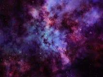 Färgrik nebulosa- och stjärnaklunga i djupt utrymme Vektor Illustrationer