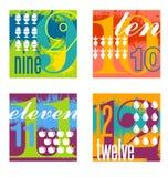 Färgrik nummerdesignuppsättning 3 Arkivfoto
