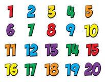 Färgrik nummeruppsättning 1-20 Arkivbild