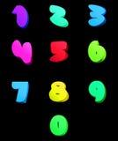 Färgrik nummervektoruppsättning, komisk stil Royaltyfri Bild