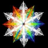 Färgrik och dekorativ snöflingamodell Arkivfoto