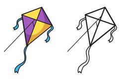 Färgrik och svartvit drake för färgläggningbok stock illustrationer