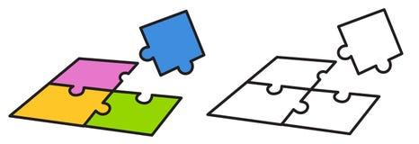 Färgrik och svartvit figursåg för färgläggningbok vektor illustrationer