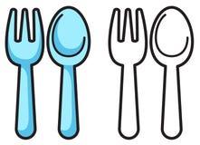 Färgrik och svartvit gaffel och sked för färgläggningbok Royaltyfri Bild