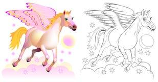 Färgrik och svartvit modell för att färga Fantasiillustration av gulliga Pegasus, bevingad häst i grekisk mytologi royaltyfri illustrationer