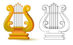 Färgrik och svartvit modell för att färga Illustration av lyran Symbol av gammalgrekiskamusikinstrumentet Arkivfoton