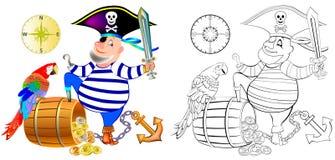 Färgrik och svartvit modell för att färga Illustrationen av roligt piratkopierar med en papegoja Royaltyfria Foton