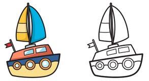 Färgrik och svartvit yacht för färgläggningbok vektor illustrationer
