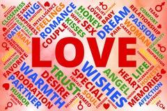 Färgrik ordmolncollage gällde med förälskelse med hjärta-, man- och kvinnasymboler Royaltyfri Fotografi