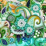 Färgrik Paisley sömlös modell Original- dekorativ bakgrund royaltyfri illustrationer