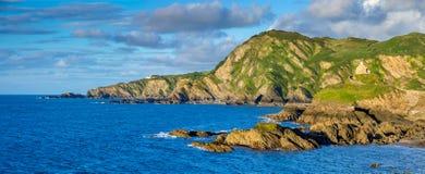 Färgrik panorama av norrkusten av Devon arkivbild