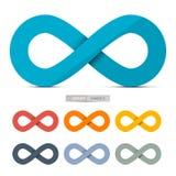 Färgrik pappers- uppsättning för vektoroändlighetssymboler Arkivfoton