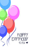 Färgrik partiballong för vektor för mall för födelsedagkort Royaltyfri Foto