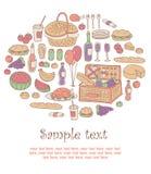 färgrik picknick för kort Royaltyfri Fotografi