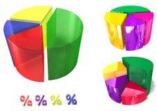 färgrik pieset för graf 3d Royaltyfria Bilder