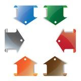 färgrik pilbokmärke Arkivfoto
