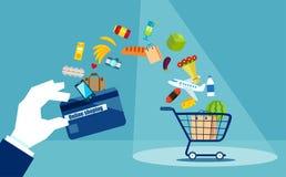 Färgrik plan design för consumerism royaltyfri illustrationer