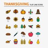 Färgrik plan linje symbolsuppsättning för tacksägelsedag Royaltyfri Bild