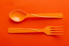Färgrik plast- sked Fotografering för Bildbyråer