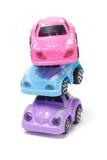 färgrik plastic bunttoy för bilar Arkivfoton