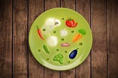 Färgrik platta med hand dragen symboler, symboler, grönsaker och fr Royaltyfri Bild