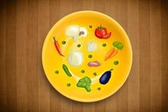 Färgrik platta med hand drog symboler, symboler, grönsaker och frukter Royaltyfri Bild