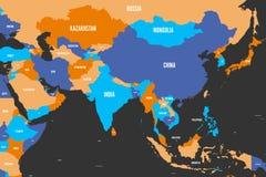 Färgrik politisk översikt av västra, sydliga och östliga Asien Enkel plan vektorillustration royaltyfri illustrationer