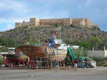 Färgrik port av Kelibia, Tunisien Arkivfoton