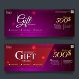 Färgrik presentkort, certifikatkupongdesign, vektorillustration Arkivbilder