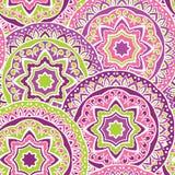Färgrik prydnad av mandalas stock illustrationer