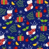 färgrik prydnad för jul Seamless bakgrund royaltyfri illustrationer