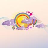 Färgrik psykedelisk bakgrundsvektorillustration Arkivfoton