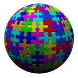 Färgrik pusselboll, 3d Royaltyfri Fotografi